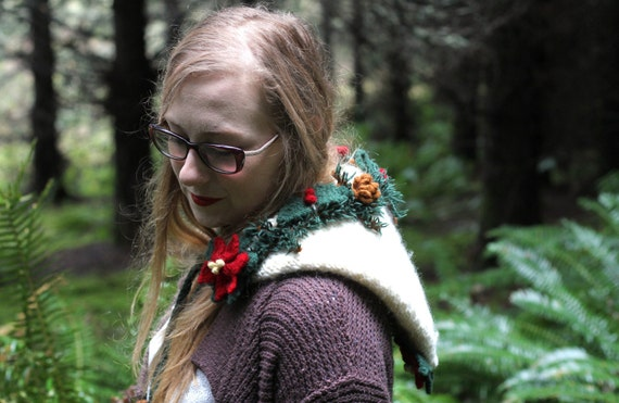 Knit woodland Christmas holiday pixie hat/hood with wet-felted fir branches, poinsettias, and pinecones for your inner sprite.
