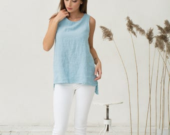 Light blue pure linen top. Oversized loose fit linen shirt. Stonewashed flax blouse, tunic.