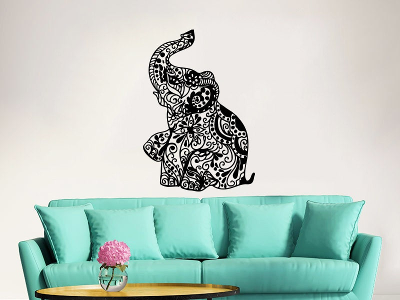 elephant wall decal stickers floral patterns yoga decals home decor indie wall art boho bedding nursery - Wall Art Design Decals