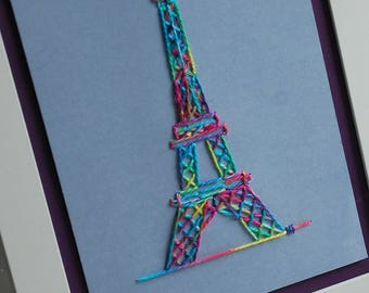 Eiffel Tower embroidery kit - unique design, cross stitch, pre-punched card lacing craft with hand-dyed silk thread