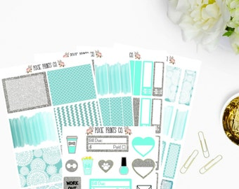 Turquoise and Silver Glitter Sticker Kit, Planner Stickers, for use with Erin Condren, Life Planner, Happy Planner, Mambi, Recollections