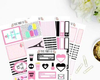 Sweet Paris Sticker Kit for use with, Erin Condren, Life Planner, Planner Stickers, Mambi, Happy Planner, Stickers