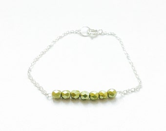 Lime Green Silver Chain Bracelet Minimalist and Simple Style Jewelry Dainty Bracelet Modern and Trendy Jewellery