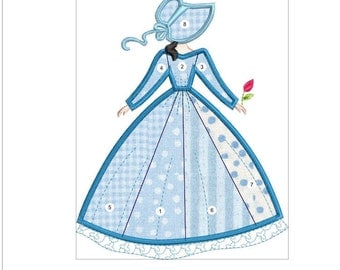 SOUTHERN BELLE APPLIQUE  blue doll machine embroidery download 3 diff sizes (  4x5  5x6  6x7 )
