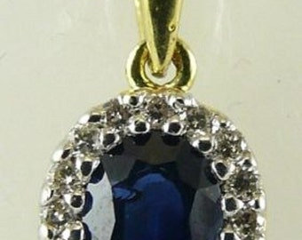 Sapphire 0.48ct Pendant 14k Yellow Gold and Diamonds 0.10ct