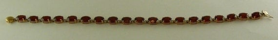 Garnet 24.6ct Bracelet 14k Yellow Gold 7.5 Inches Long