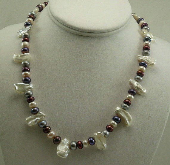 "Multi-Color Freshwater Pearl Necklace 18"" Long with 14k White Gold Fish Lock"