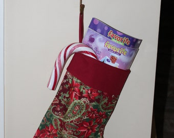 Christmas stocking   Pointsetta/gold metellic/dark red print