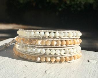 White Tan Beaded Wrap Bracelet; Leather Wrap; Beaded Bracelet; Beaded Anklet; Boho Wrap; Stacking Bracelet; Chan Luu Style; Layer Bracelet