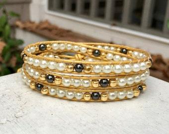 Pearl Gold Hematite Beaded Wrap Bracelet; Leather Wrap; Beaded Bracelet; Triple Wrap; Stacking Bracelet; Boho Bracelet; Chan Luu Style
