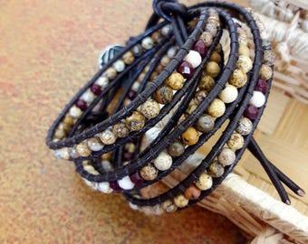 Women's leather bracelet//bracelet with hard stones//Jasper Pearls//Chan Luu style wrap bracelet//gift Idea for her