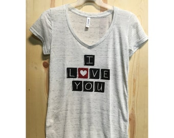 Glitter I Love You Scrabble Pieces V-Neck / Ladies Valentines Day Shirt / XOXO / Love T-Shirt / ILY / Gifts for her / V-Day T-Shirt