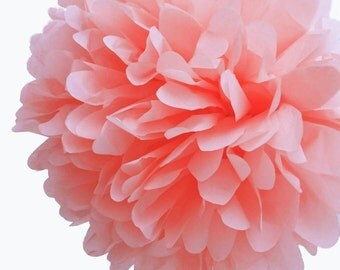 Blush Tissue Paper Pom Poms/Peach Pink/Tissue Paper Hanging Decorations/