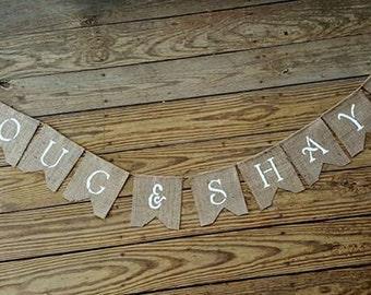 Deer Antler ~ Burlap Wedding Banner/Bunting Shower~ Engagement Birthday Photo Prop BUNTING custom name