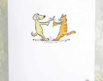 Dog and Cat Card: Add a Greeting or Leave Blank