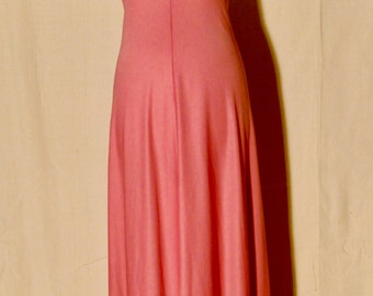 70's PINK Prom Spaghetti Strap Maxi Dress Small