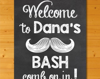 Mustache Baby Shower Chalkboard Welcome Sign, Little Mister Mustache Bash Welcome Sign Printable, Custom Mustache Baby Shower Sign Printable