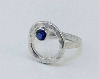 Sterling Silver Geometric Ring - Sapphire Stone - Minimalist Ring - Silver Ring