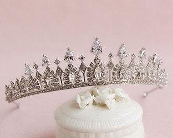 Princess wedding tiara Vintage wedding tiara Swarovski Crystal Bridal Tiara Cubic Zirconia Tiara CZ Crown Diamond Wedding CrownBridal Tiara