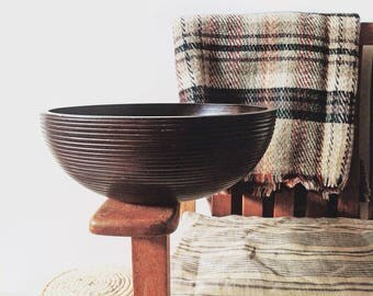Vintage Handcrafted Dark Brown Mango Wood Bowl, Made in Thailand, Wood Salad Bowl, Fruit Bowl, Vintage Wooden Bowl, Turned Wood Bowl, Bowl
