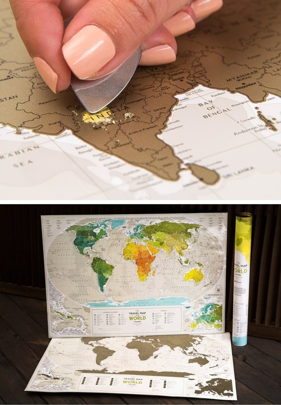 Personalized Travel Map of the World Scratch Off with by TheMapLab – Personalized Travel Map With Pins