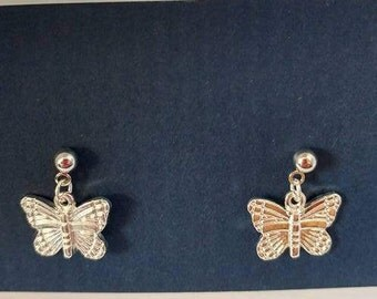 Silver butterfly with silver post earring