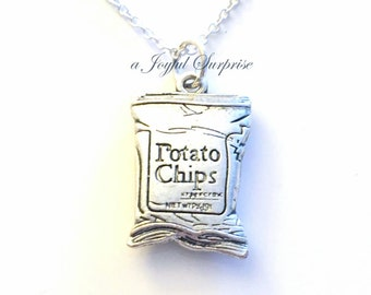 Gift for Teenage Boy, Bag of Chips Necklace Potato Chip Jewelry Junk Food Birthday Charm Boyfriend present Joke Funny 21 man  men Teenager