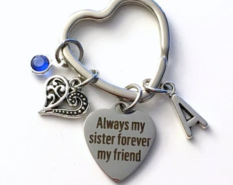 Always my sister forever my friend Key Chain, Gift for Half Sister KeyChain, Keyring Birthstone Initial Personalized Present for In Law Step