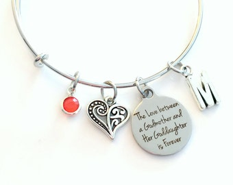 The love between a Godmother and her Goddaughter is forever Jewelry, Gift for Godmom Charm Bracelet Silver Bangle birthstone initial Present