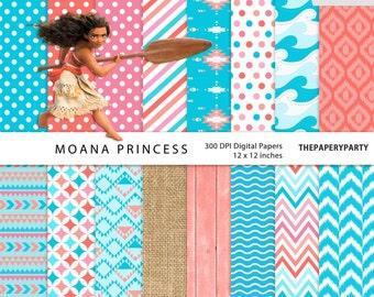 Moana Princess 16 digital inspired scrapbook papers 300 DPI HIGH QUALITY