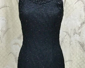 Vintage Laurence Kazar Black Beaded Mini Dress