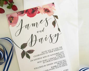 Printable Wedding Invitation, Romantic Wedding Invitation, Download Invitation, Template Downloadable, Wedding Invitation Floral, Wedding