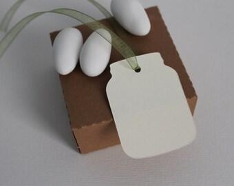Mason Jar Plain hang tags, labels, gift bags, Tags ivory cards Jar wedding favors