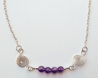 Amethyst and Sterling Silver Wave Bar Necklace / Maine Made Jewelry / Swirl Spiral Layering Necklace / Gift for Her / Gemstones