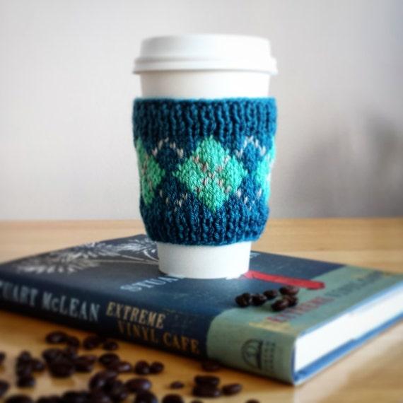Argyle Coffee Cozy. Turquoise Coffee Sleeve. Fair Isle Coffee