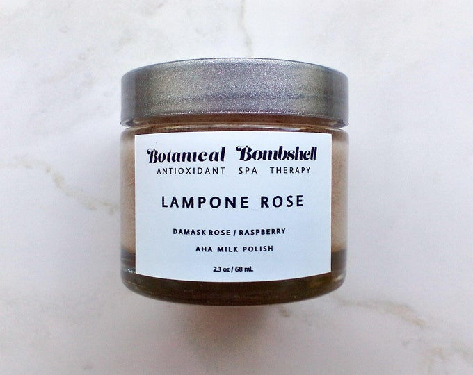 Lampone Rose Raspberry Hibiscus Rose AHA Milk Polish /Microdermabrasion/Brightening/Sugar Scrub/Lotion Exfoliant 2.3 oz / 68 mL