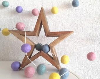 Pastel felt ball garland, baby bunting, gender neutral baby garland, playroom decor,baby shower decoration,pink aqua yellow lavander,pom pom