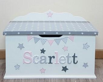 Personalised / custom / bespoke / wooden / toy box / name / theme / large size toybox / boys / girls / nursery baby / child / toy chest