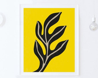 Yellow Art, Mid Century Modern Art Print, Yellow Wall Decor Printable Print Download, Colorful Modern Scandinavian Leaf Art INSTANT DOWNLOAD