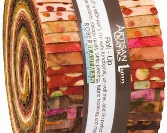 Bakari 2 1/2 Inch Strips Jelly Roll, 40 Pieces, Artisan Batik Bakari 2 Collection, Robert Kaufman, Precut Fabric, Quilt Fabric, Cotton
