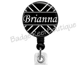 Retractable Badge Reels, Personalized Badge Holder for RN, Black and White Badge Reel, Name Clip, Stethoscope ID Tag 474