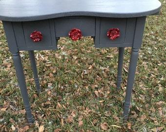 Midcentury Vanity Desk, Kidney Shaped,, Shabby Chic Desk, Dixie Belle Gravel Road Chalk Paint