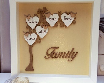 Personalised Family Tree Frame, family names tree, Framed wooden keepsake tree, Mother's Day gift,  Wooden wedding anniversary present
