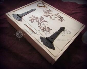 Photo album box of wood birds and flowers
