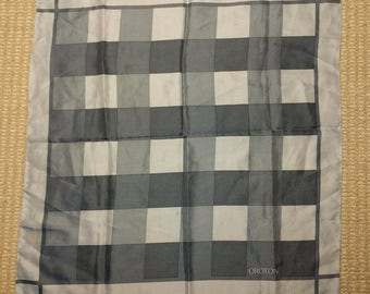 Vintage Oroton scarf checks shades of grey / gray made in Japan 21in sq