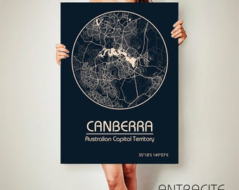 CANBERRA Australia CANVAS Map Canberra Australia Poster City Map Canberra Art Print Canberra poster Canberra map art Poster Canberra map
