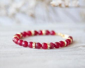 Real Ruby Bracelet, Ruby Birthstone Bracelet, Ruby Bracelet, Genuine Ruby Jewelry, Ruby Bracelet for Her, Genuine Ruby Bracelet