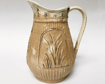 antique wheatsheaf & gilt stoneware pitcher