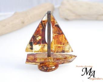 BOAT made of Baltic Amber 13678 +Certificate   decoration handmade Polish myamber ship sailing boat