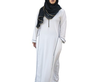 Hayaa ~  OFF White Casual Abaya Princess Cut Long Dress With Piping Details Islamic Clothing M L XL 2XL